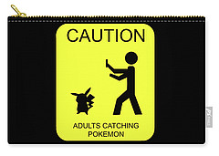 Carry-all Pouch featuring the digital art Adults Catching Pokemon 1 by Shane Bechler