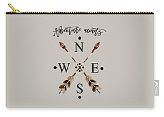 Carry-all Pouch featuring the digital art Adventure Waits Typography Arrows Compass Cardinal Directions by Georgeta Blanaru