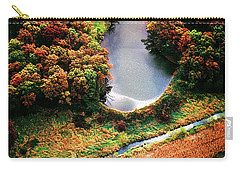 Carry-all Pouch featuring the photograph Aerial Farm Big Foot Pond by Tom Jelen