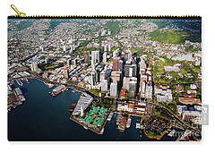 Carry-all Pouch featuring the photograph Aerial Panorama - Downtown - Honolulu, Oahu, Hawaii  by D Davila