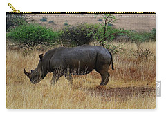 African Animals On Safari - One Very Rare White Rhinoceros Right Angle With Background Carry-all Pouch