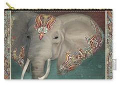 Carry-all Pouch featuring the painting African Bull Elephant - Kashmir Paisley Tribal Pattern Safari Home Decor by Audrey Jeanne Roberts
