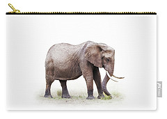 African Elephant Grazing - Isolated On White Carry-all Pouch