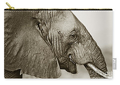 African Elephant Profile  Duotoned Carry-all Pouch by Liz Leyden