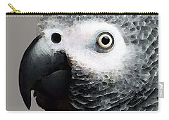 African Gray Parrot Art - Softy Carry-all Pouch by Sharon Cummings