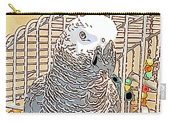 African Grey Parrot In Pencil Carry-all Pouch