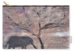 African Landscape Baby Elephant And Banya Tree At Watering Hole With Mountain And Sunset Grasses Shr Carry-all Pouch
