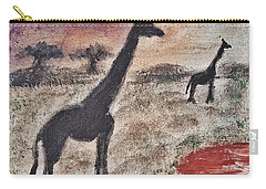 African Landscape Giraffe And Banya Tree At Watering Hole With Mountain And Sunset Grasses Shrubs Sa Carry-all Pouch
