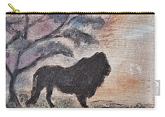 African Landscape Lion And Banya Tree At Watering Hole With Mountain And Sunset Grasses Shrubs Safar Carry-all Pouch