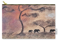 African Landscape Three Elephants And Banya Tree At Watering Hole With Mountain And Sunset Grasses S Carry-all Pouch