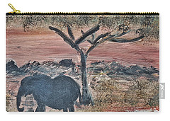 African Landscape With Elephant And Banya Tree At Watering Hole With Mountain And Sunset Grasses Shr Carry-all Pouch