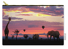 African Safari Colorful Sunrise With Animals Carry-all Pouch