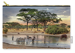 African Safari Wildlife At The Waterhole Carry-all Pouch