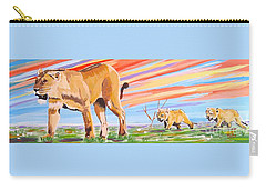 African Lion And Cubs Carry-all Pouch by Phyllis Kaltenbach
