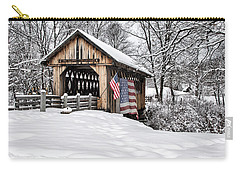 After A Winter Snow Storm Cilleyville Covered Bridge  Carry-all Pouch by Betty Pauwels