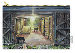 After Hours In Pa's Barn - Barn Lights - Labs Carry-all Pouch by Jan Dappen