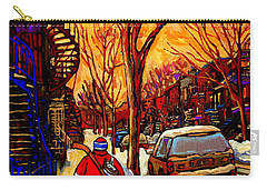 After The Hockey Game A Winter Walk At Sundown Montreal City Scene Painting  By Carole Spandau Carry-all Pouch