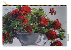 Carry-all Pouch featuring the painting Afternoon Geraniums by Sandra Strohschein