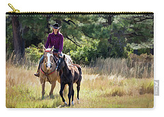 Afternoon Ride In The Sun - Cowgirl Riding Palomino Horse With Foal Carry-all Pouch by Nadja Rider