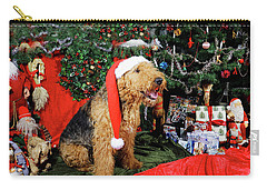 Airedale Terrier Dressed As Santa-claus Carry-all Pouch