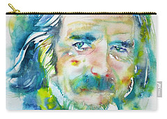 Carry-all Pouch featuring the painting Alan Watts - Watercolor Portrait.4 by Fabrizio Cassetta
