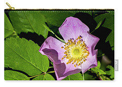 Carry-all Pouch featuring the photograph Alberta Wild Rose Opens For Early Sun by Darcy Michaelchuk