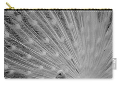 Albino Peacock In Black And White Carry-all Pouch