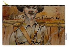 Carry-all Pouch featuring the painting Alfred Shout Vc by Ray Agius