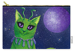 Carry-all Pouch featuring the painting Alien Cat by Carrie Hawks