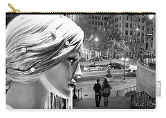 Carry-all Pouch featuring the photograph All Dressed Up And No Place To Go - B W by Chuck Staley