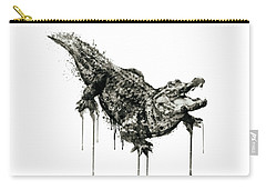 Alligator Black And White Carry-all Pouch
