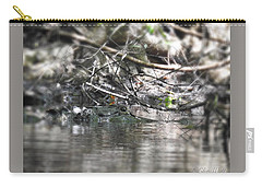 Alligator In Silver Carry-all Pouch