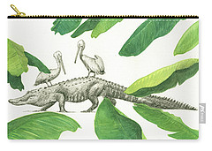 Alligator With Pelicans Carry-all Pouch by Juan Bosco