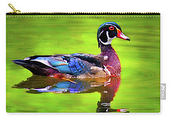 Carry-all Pouch featuring the photograph Almost Perfect Wood Duck by Jean Noren
