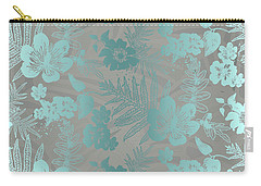 Aloha Damask Taupe Aqua Carry-all Pouch