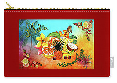 Carry-all Pouch featuring the digital art Aloha Tropical Fruits By Kaye Menner by Kaye Menner