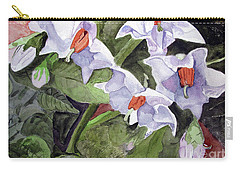 Carry-all Pouch featuring the painting Amanda's Blue Potato Flowers by Sandy McIntire