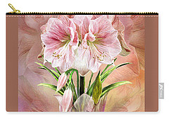 Carry-all Pouch featuring the mixed media Amaryllis In Amaryllis Vase by Carol Cavalaris