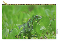 Amazingly Green Iguana In Green Shrubs Carry-all Pouch by DejaVu Designs