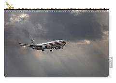 American Aircraft Landing After The Rain. Miami. Fl. Usa Carry-all Pouch
