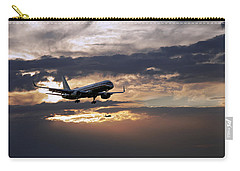 American Aircraft Landing At The Twilight. Miami. Fl. Usa Carry-all Pouch