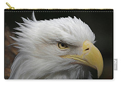 Carry-all Pouch featuring the digital art American Bald Eagle Portrait by Ernie Echols