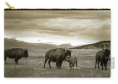American Bison Calf And Cow Carry-all Pouch