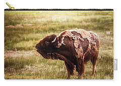 American Bison Into The Wind Carry-all Pouch
