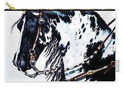 American Black And White Paint  Carry-all Pouch by Cheryl Poland