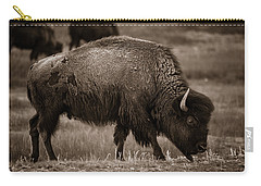 Carry-all Pouch featuring the photograph American Buffalo Grazing by Chris Bordeleau