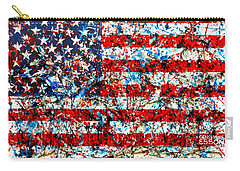 Carry-all Pouch featuring the painting American Flag Abstract With Trees by Genevieve Esson