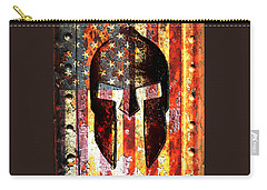 American Flag And Spartan Helmet On Rusted Metal Door - Molon Labe Carry-all Pouch