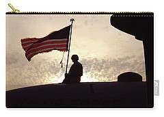 Carry-all Pouch featuring the painting American Flag Atop An Aircraft by Artistic Panda