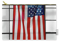 Carry-all Pouch featuring the photograph American Flag In The Window by Mike McGlothlen